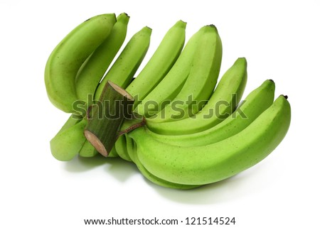 Bunch of raw bananas isolated on white background