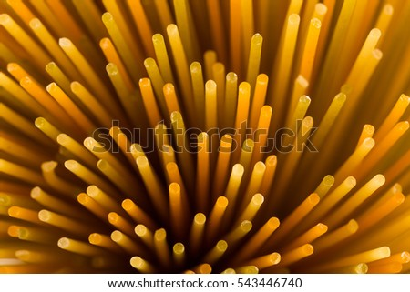 Bunch of raw italian pasta with vegetable dye of spinach, paprika and carrot