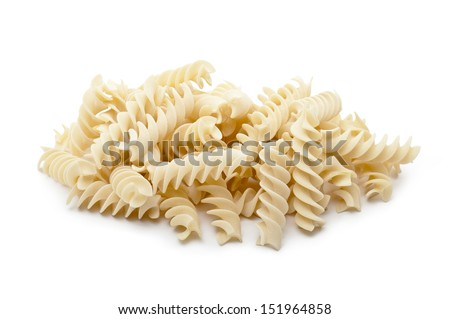 bunch of raw pasta fusilli on white background - stock photo