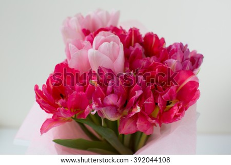 bunch of red and pink tulips