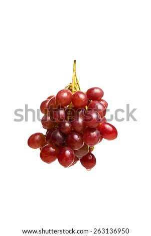 Bunch of red grapes , fresh with water drops. Isolated on white background - stock photo
