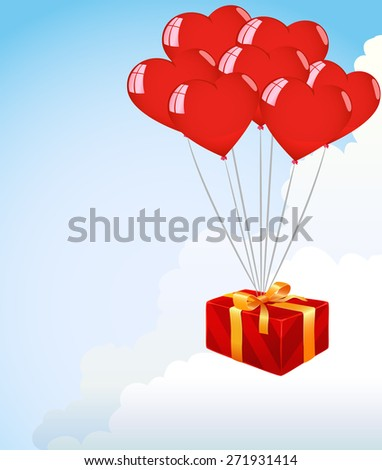 Bunch Of red Heart Shape Balloons on the clouds sky background - stock photo
