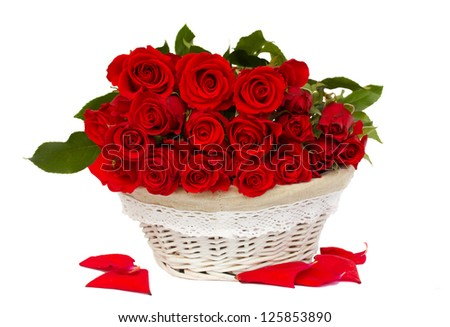 bunch of red roses in basket - stock photo