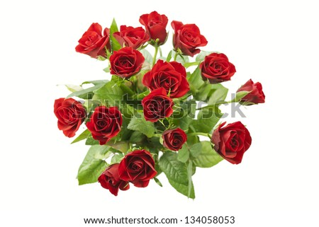 Bunch of red roses isolated on white background