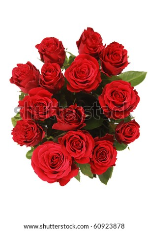 bunch of red roses on white - stock photo