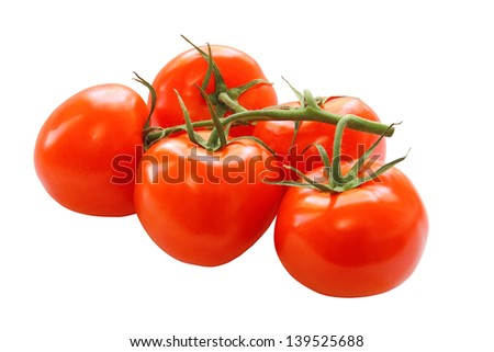 bunch of red tomatoes isolated on a white background - stock photo