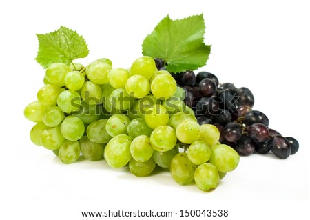 bunch of ripe green and red grapes isolated on white