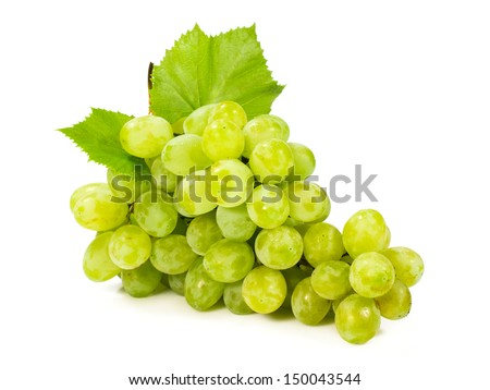 bunch of ripe green grapes isolated on white - stock photo
