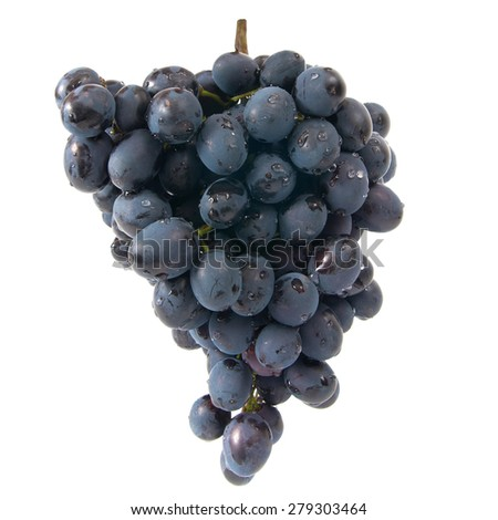 Bunch of ripe red grapes isolated on white background - stock photo