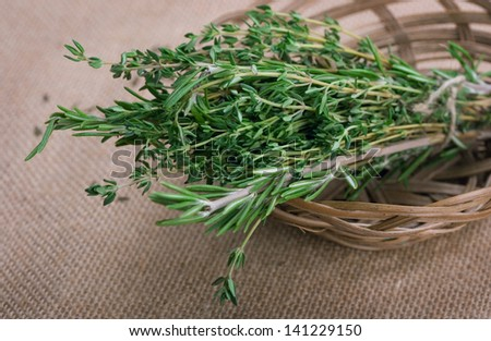 Bunch of rosemary and thyme - stock photo