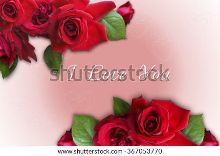 Bunch of roses with I Love You on a pink gradient background with transparent hearts