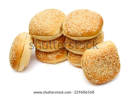 bunch of sesame buns isolated on white
