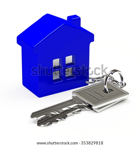 Bunch of silver keys with blue house isolated on white background  - stock photo