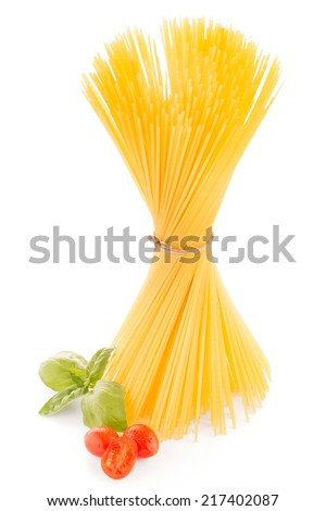 Bunch of spaghetti on white background.