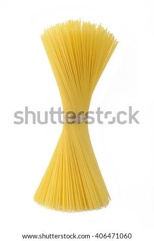 bunch of spaghetti on white background - stock photo