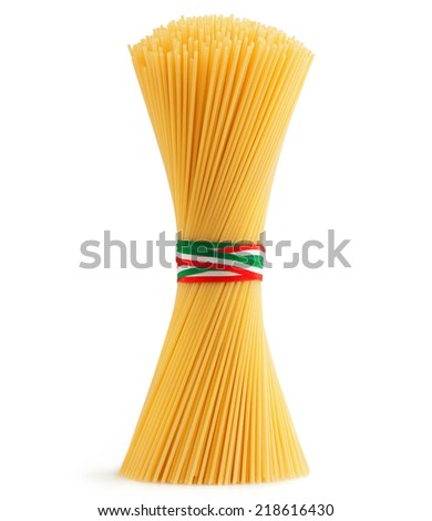 bunch of spaghetti tied by a tricolor strip - stock photo