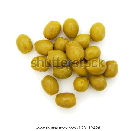 bunch of stuffed green olives on a white background
