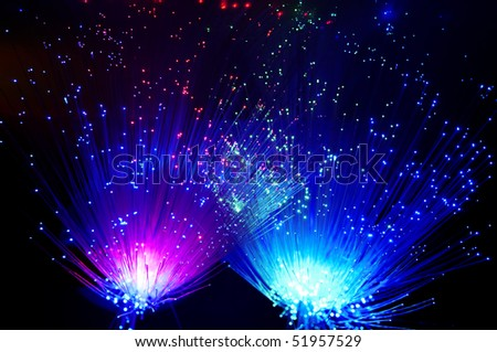 bunch of the optical fibres - stock photo