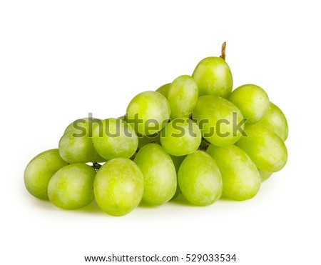 Bunch of the ripe green grapes isolated on white background