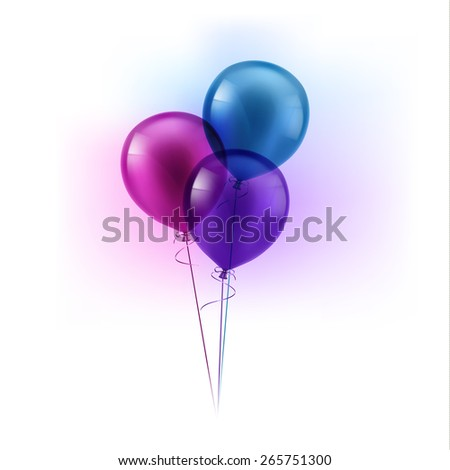 Bunch of three colorful balloons  - raster version - stock photo