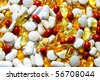 Bunch of various drug pills capsules and tablets - stock photo