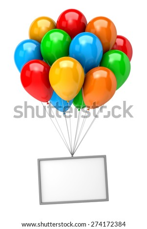 Bunch of Vibrant Color Balloons Holding Up an Empty Banner on White Background 3D Illustration - stock photo