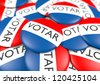 bunch of voter button in Spanish - stock photo