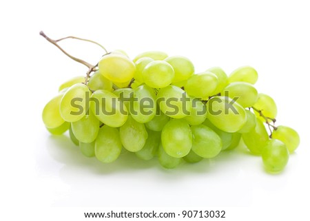 bunch of white grapes isolated on white