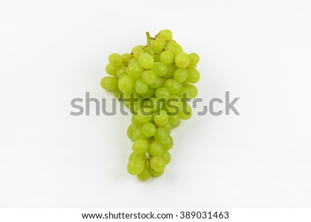 bunch of white grapes on white background