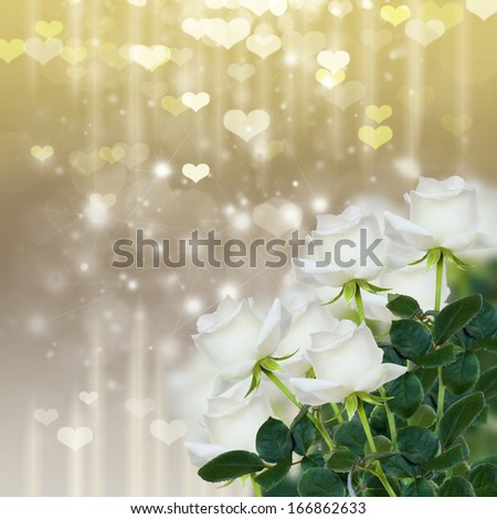 bunch of white rose on sparkling silver and gold  background