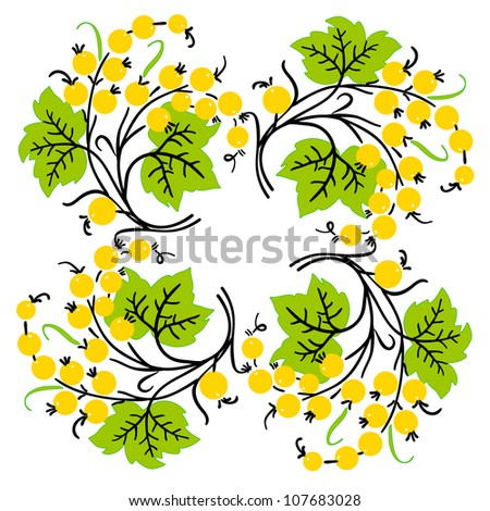 Bunch of yellow currant. Ripe berry. - stock photo
