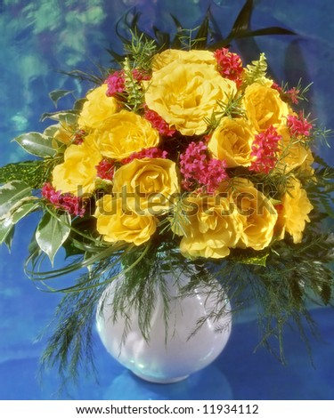 bunch of yellow roses in vase - stock photo