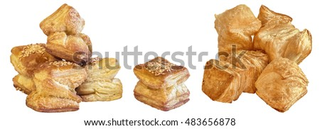 Bunch of Zu-Zu Square Sesame Croissant Puff Pastry Isolated on White Background