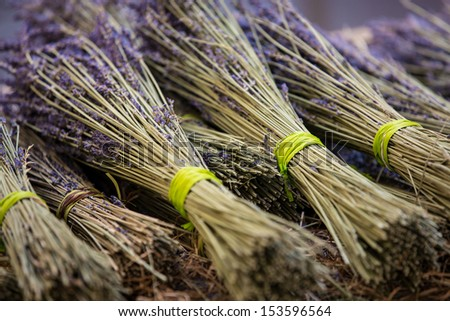 Bunches of lavender lie on a market stall - stock photo