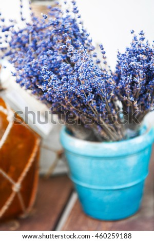 Bunches of lavender on a market  - stock photo