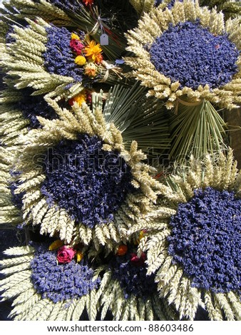 Bunches of lavenders, street market in Salles-sur-Verdon, Provence, France - stock photo