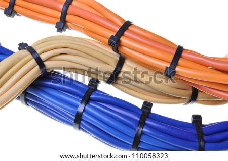Bunches of network cables in office networks