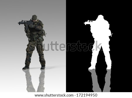 Bundeswehr troops. Studio shooting. With alpha channel. left turn view. with reflections. isolated. - stock photo
