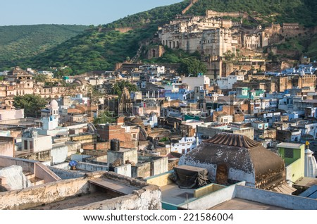 Bundi town and pallace in Rajasthan, India - stock photo
