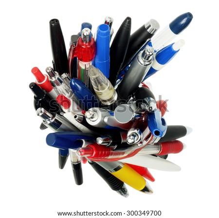 Bundle of Ballpoint Pens on White Background - stock photo