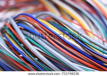 Bundle Colorful Electric Computer Cable Closeup Stock Photo