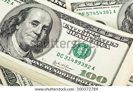 Bundle of dollar banknotes; USD paper currency