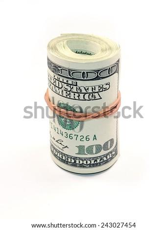 Bundle of Dollar Bills isolated on white background    - stock photo