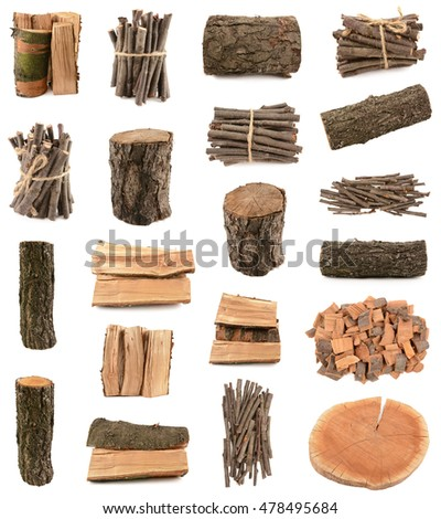 Bundle of dry twigs on a white background