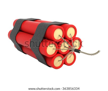 Bundle of dynamite isolated on white background. 3d illustration. - stock photo