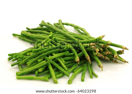 bundle of fresh cut long beans(Vigna unguiculata subsp. sesquipedalis) on a white background