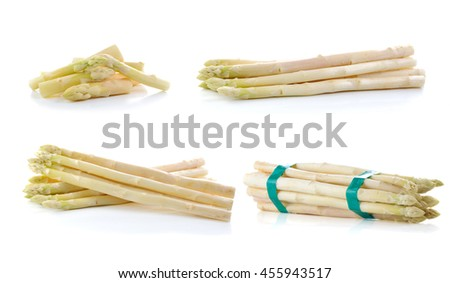 Bundle of fresh white asparagus spears.