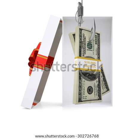 Bundle of money in gift box with ribbon on isolated white background