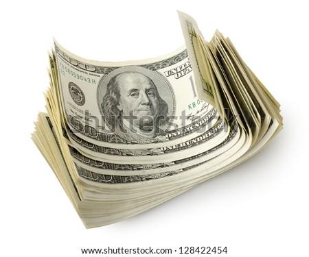 Bundle of money isolated on a white background - stock photo