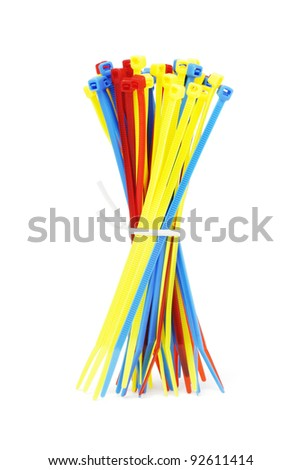 Bundle of Multicolor Nylon Cable Ties on White Background